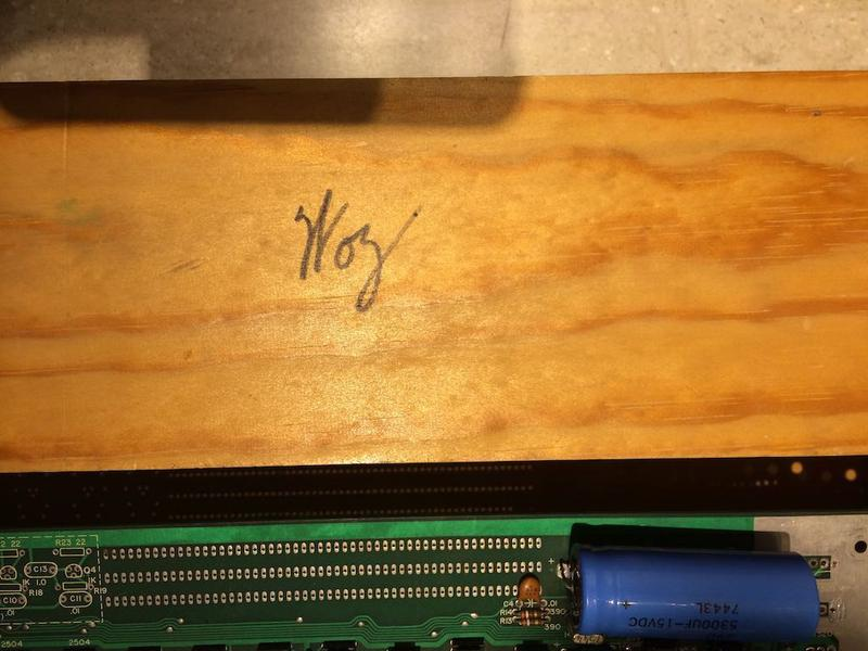 Steve Wozniak's signature on an Apple I at the Computer History Museum in Mountain View, California