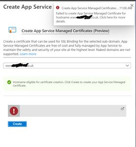Failed certificate error in Azure