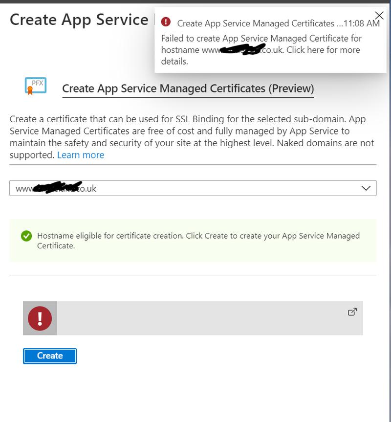 Failed certificate error in Azure