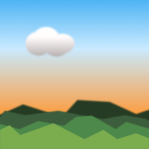 Abstract landscape and cloud illustration