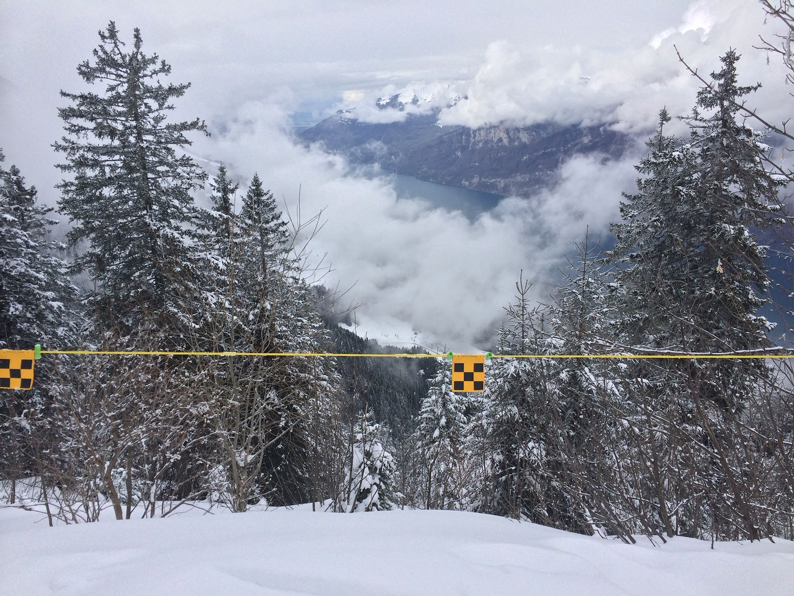 Swiss alps, lookgin down on the clouds. Photo, author's own